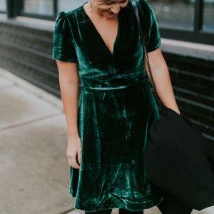 Madewell Green Spruce Crushed Velvet Dress New 00